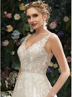 A-Line V-neck Court Train Wedding Dress With Lace