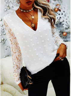 Regular Fitted Lace Solid Casual Long Sleeves Puff Sleeves