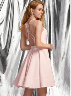 A-Line V-neck Short/Mini Stretch Crepe Prom Dresses