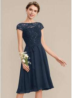 Scoop Neck Knee-Length Chiffon Lace Bridesmaid Dress With Sequins Bow(s)