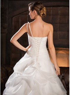 Ball-Gown One-Shoulder Cathedral Train Organza Wedding Dress With Ruffle Flower(s)