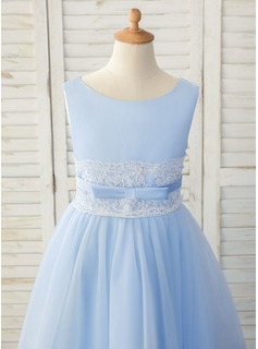 A-Line Tea-length Flower Girl Dress - Satin/Tulle/Lace Sleeveless Scoop Neck With Bow(s)