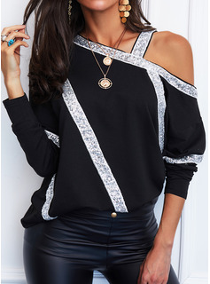 Regular Fitted Sequins Casual Long Sleeves