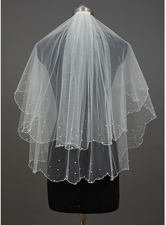 Two-tier Fingertip Bridal Veils With Pearl Trim Edge/Scalloped Edge