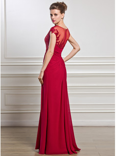 Sheath/Column Scoop Neck Floor-Length Chiffon Mother of the Bride Dress