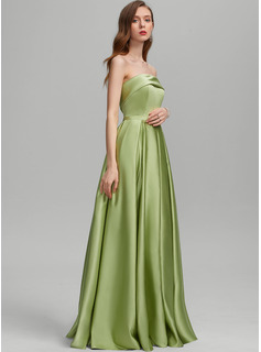 A-Line Strapless Floor-Length Satin Prom Dresses With Split Front Pockets
