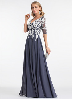 blue evening dress long sleeves