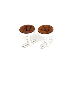 Personalized Vintage Wood Copper Cufflinks
