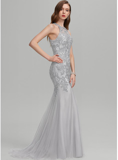 Trumpet/Mermaid Scoop Neck Sweep Train Tulle Evening Dress With Sequins