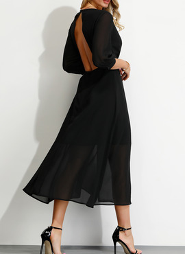 Polyester With Solid Midi Dress (199222571)