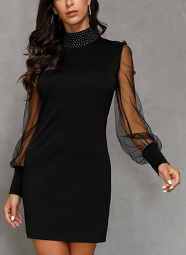 Polyester With Solid Above Knee Dress (199222044)