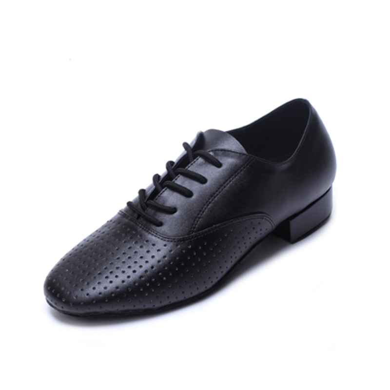 Men's Real Leather Heels Latin Ballroom Practice Character Shoes With Lace-up Dance Shoes