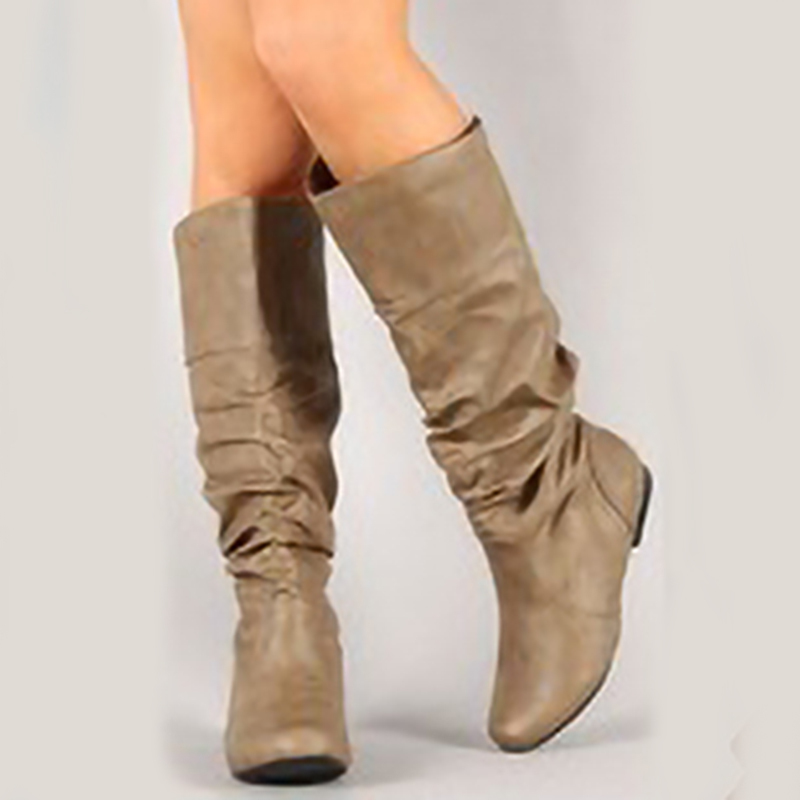 Women's Leatherette Low Heel Boots With Others shoes