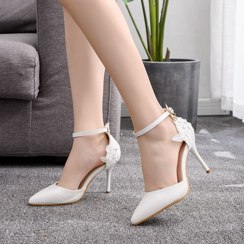 Kids' Leatherette Stiletto Heel Closed Toe Pumps Sandals With Flower Applique