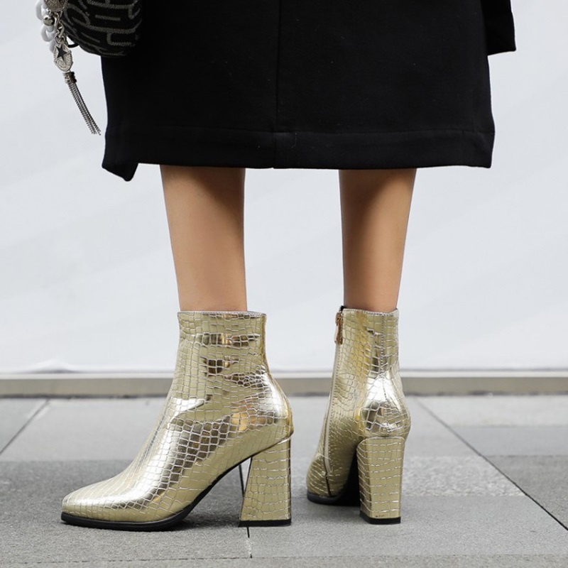 Women's Leatherette Chunky Heel Boots Pointed Toe With Animal Print Solid Color shoes