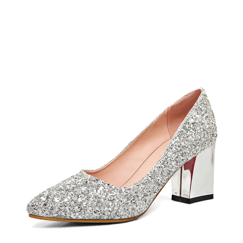 Women's Sparkling Glitter Chunky Heel Closed Toe
