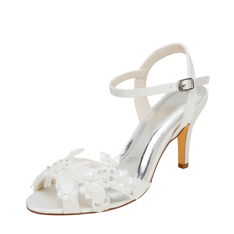 Women's Silk Like Satin Stiletto Heel Peep Toe Sandals With Sequin Stitching Lace Pearl