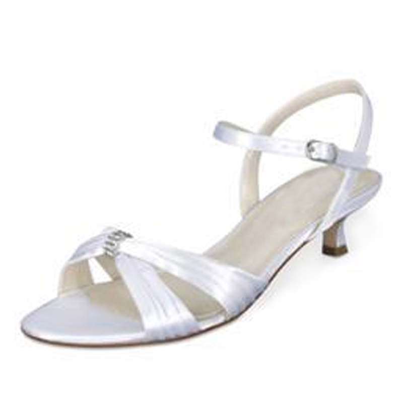 Women's Satin Kitten Heel Sandals Slingbacks