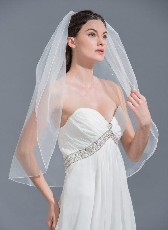 One-tier Elbow Bridal Veils With Beading