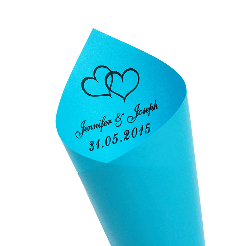 Personalized Double Hearts Paper Petal Cones (Set of 12)