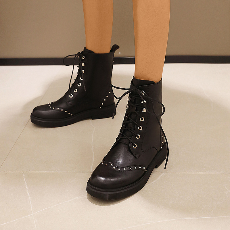 Women's Microfiber Leather Low Heel Mid-Calf Boots Martin Boots Round Toe With Rivet Lace-up Solid Color Breathable shoes