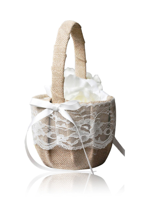 Flower Girl Linen/Lace Flower Basket With Bow/Ribbon