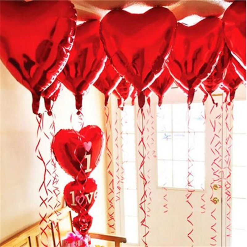 10pcs - 10inch Red Heart Shaped Balloons (set of 10)