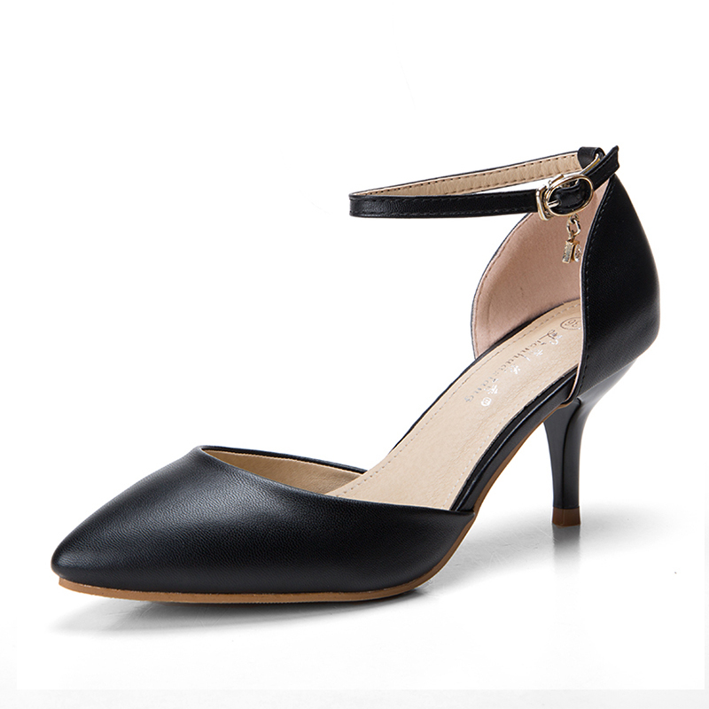 Women's Leatherette Stiletto Heel Sandals Pumps Closed Toe With Crystal Buckle shoes