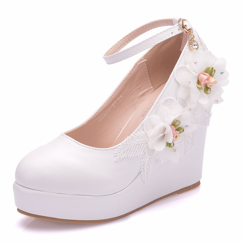 Women's Leatherette Wedge Heel Wedges With Flower