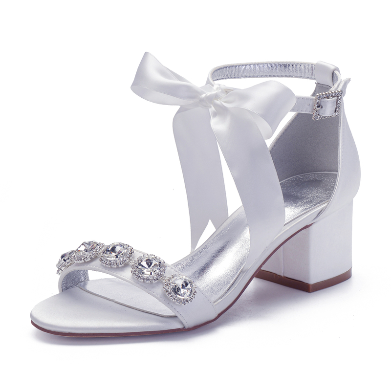 Women's Lace Chunky Heel Sandals With Bowknot Rhinestone