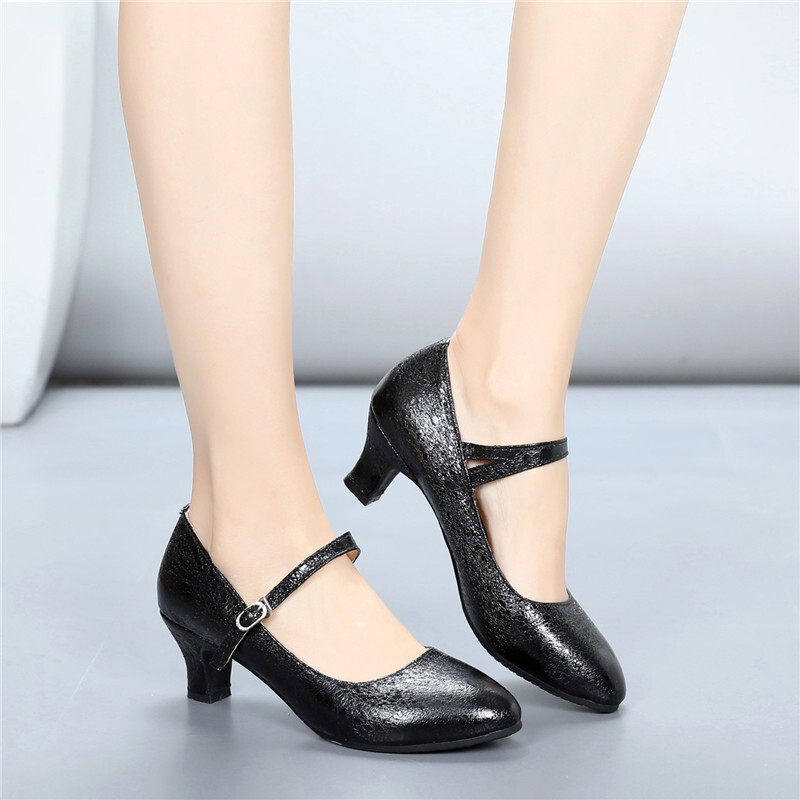 Women's Leatherette Heels Latin Jazz Belly Character Shoes With Ankle Strap Dance Shoes