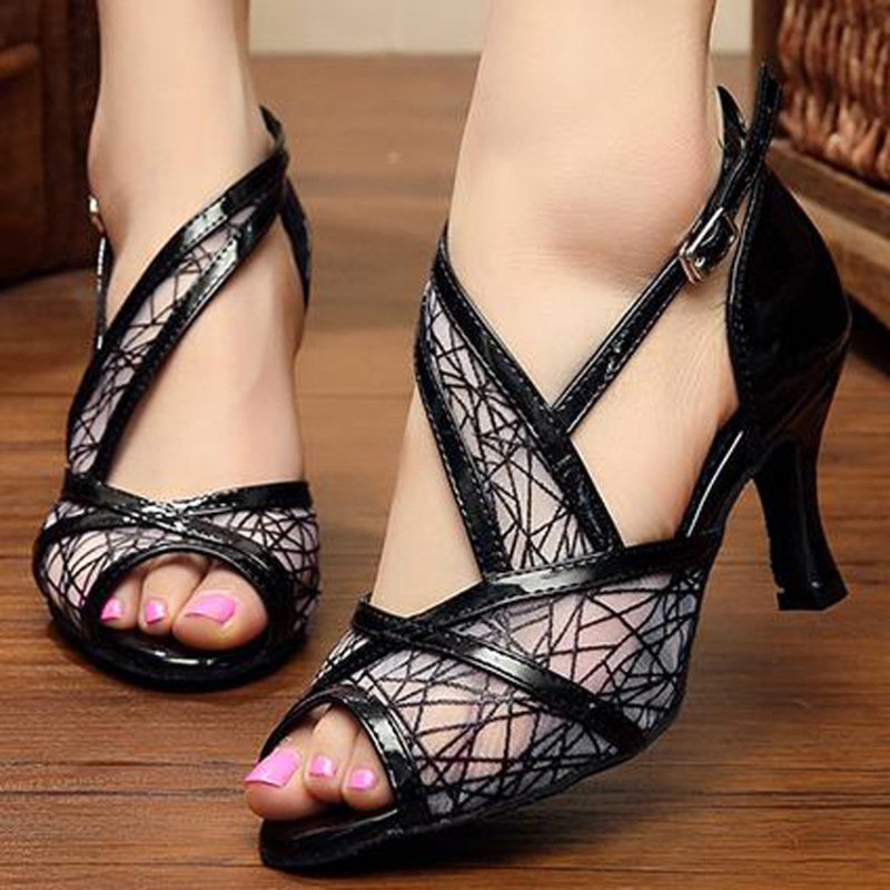 Women's Leatherette Mesh Sandals Pumps Latin Dance Shoes