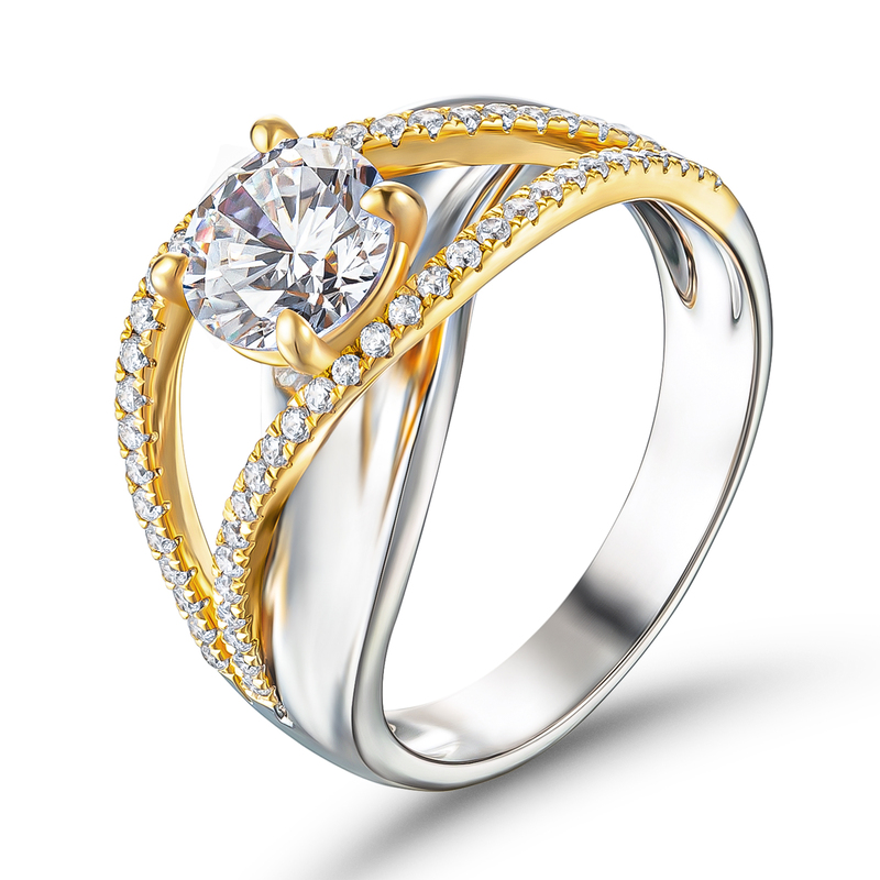 Two Tone Crossover Round Cut 925 Silver Engagement Rings