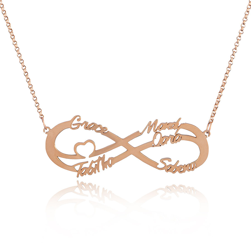 Custom 18k Rose Gold Plated Silver Infinity Family Five Name Necklace Infinity Name Necklace With Heart - Birthday Gifts Mother's Day Gifts
