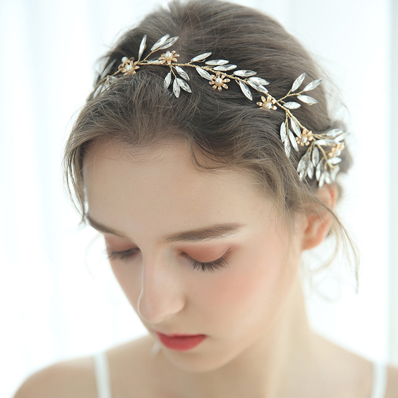 Ladies Shining Alloy/Glass Headbands With Venetian Pearl