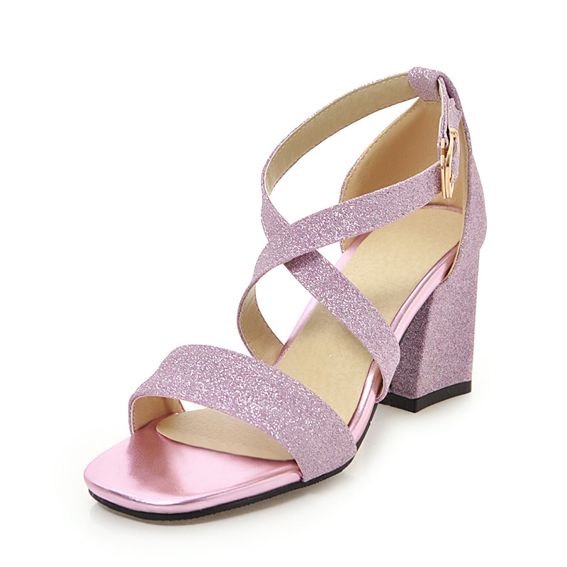 Women's Sparkling Glitter Chunky Heel Sandals Pumps Peep Toe With Buckle shoes