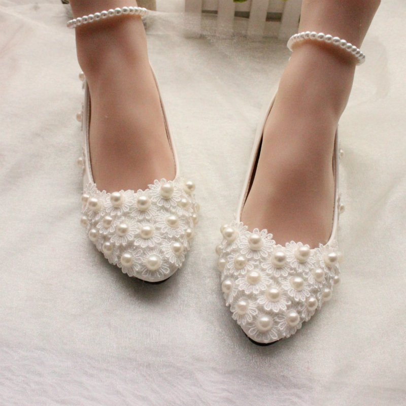 Women's Patent Leather Flat Heel Closed Toe Flats With Imitation Pearl Applique