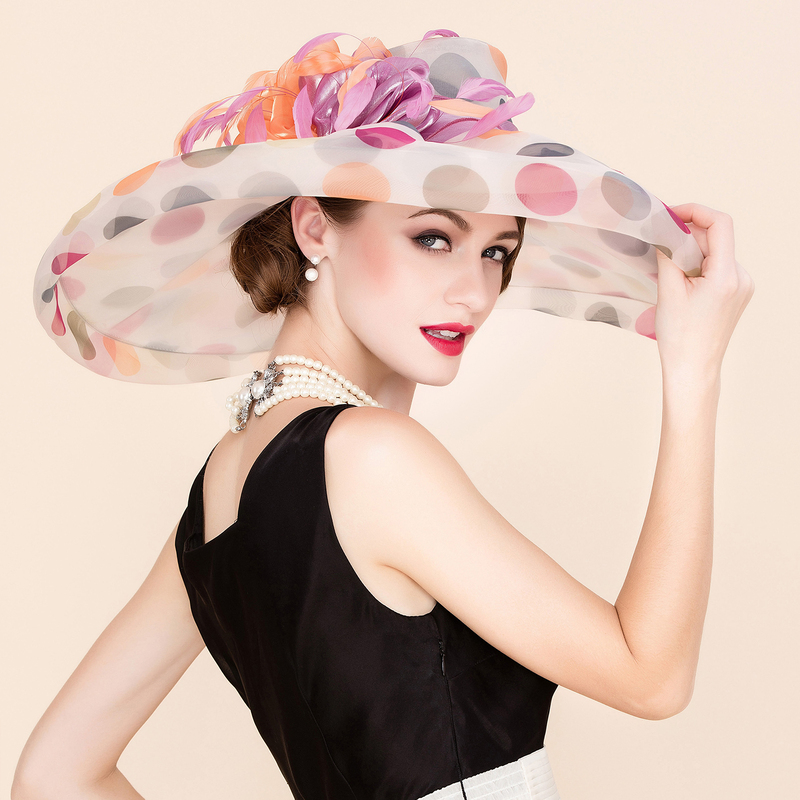 Ladies' Colorful Organza With Feather Floppy Hat/Kentucky Derby Hats