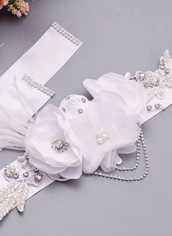 Polyester Sash With Flower/Feather/Rhinestones
