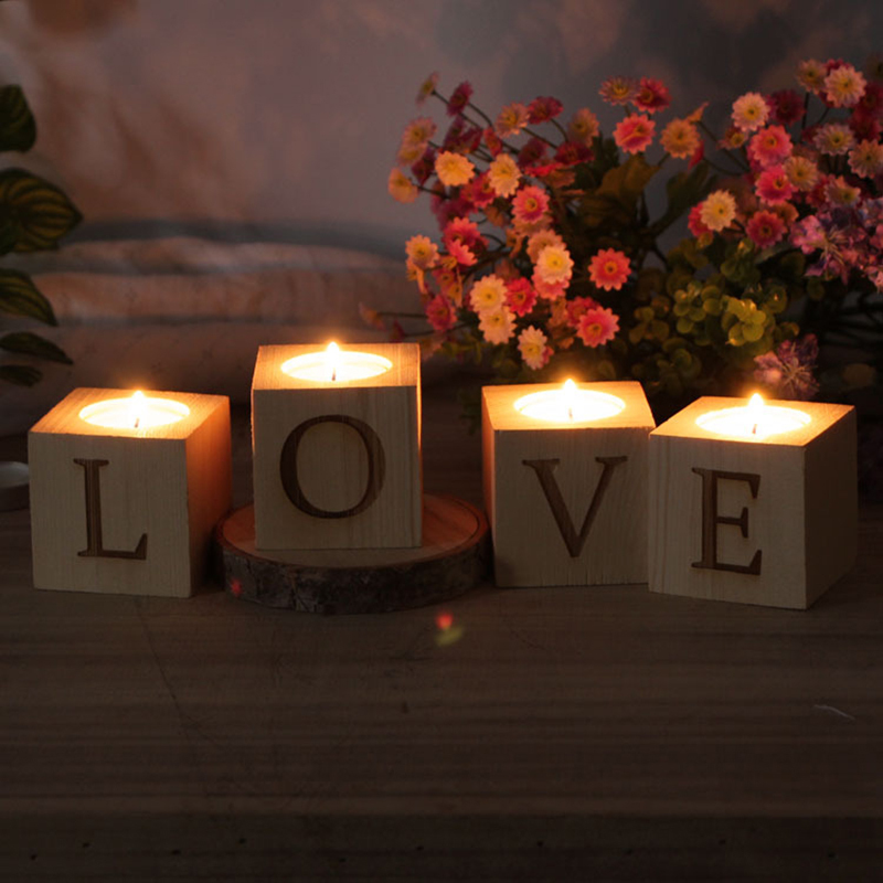 Casual Letter Wooden Candle Holder (Set of 4)