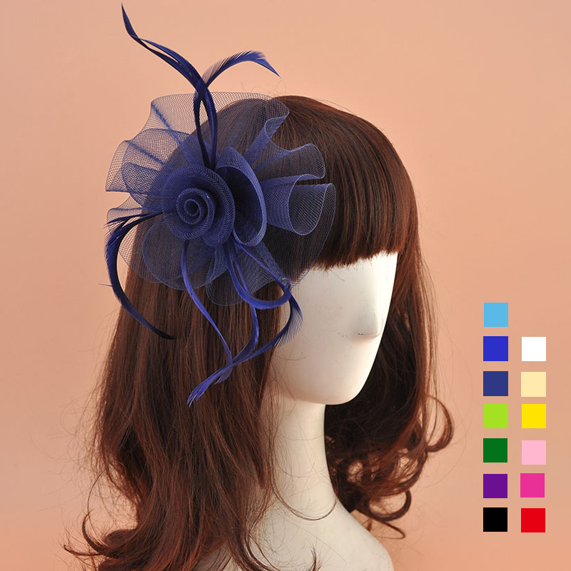Ladies' Lovely Organza With Feather Fascinators