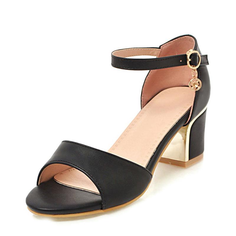 Mulheres PU Salto robusto Sandálias Bombas Peep toe com Fivela sapatos