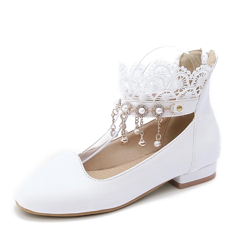 Женщины PU Плоский каблук На плокой подошве Закрытый мыс с Имитация Перл кисточкой обувь