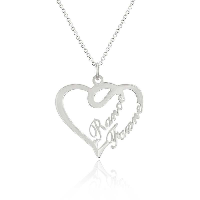 Custom Sterling Silver Overlapping Two Name Necklace Heart Necklace - Birthday Gifts Mother's Day Gifts