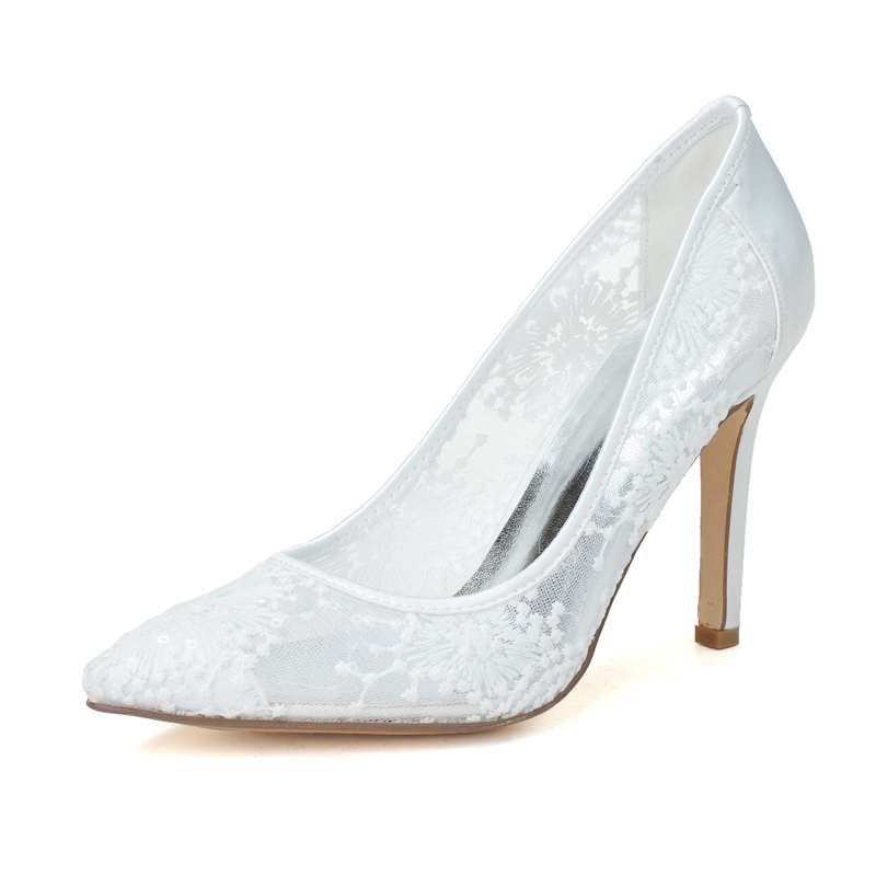 Women's Lace Satin Stiletto Heel Closed Toe Pumps With Flower