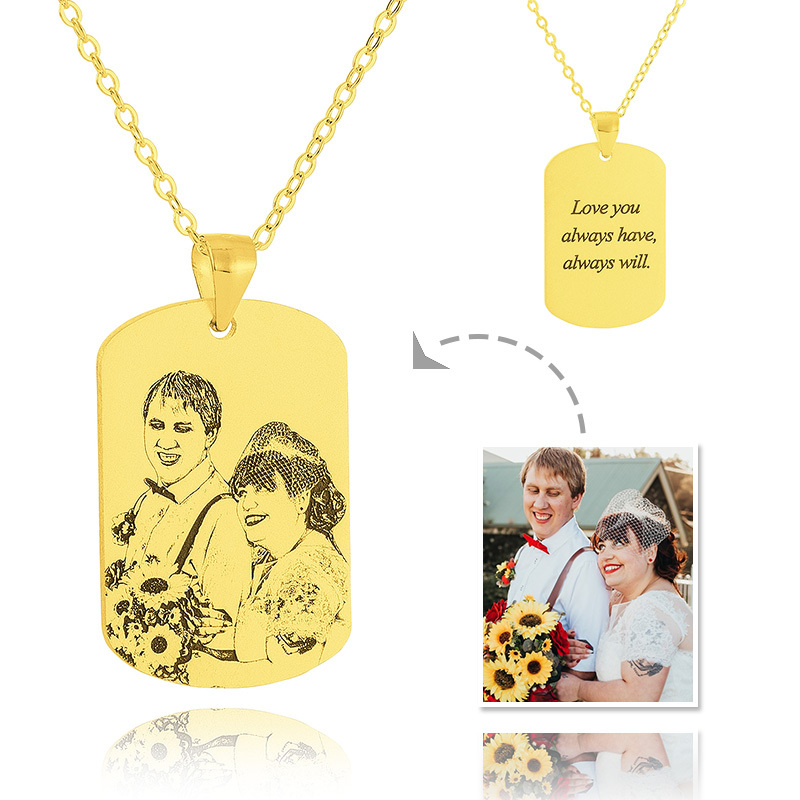 Custom 18k Gold Plated Silver Tag Mens Necklace Black And White Photo Engraved Engraved Necklace Photo Necklace - Birthday Gifts