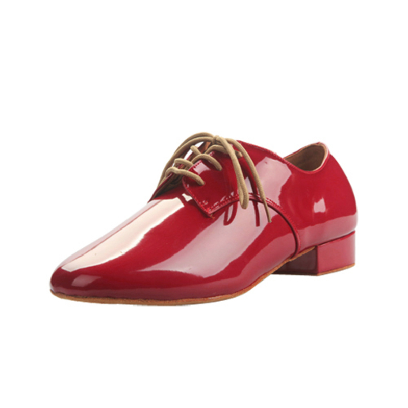 Men's Real Leather Heels Latin Ballroom Swing Practice Character Shoes With Lace-up Dance Shoes
