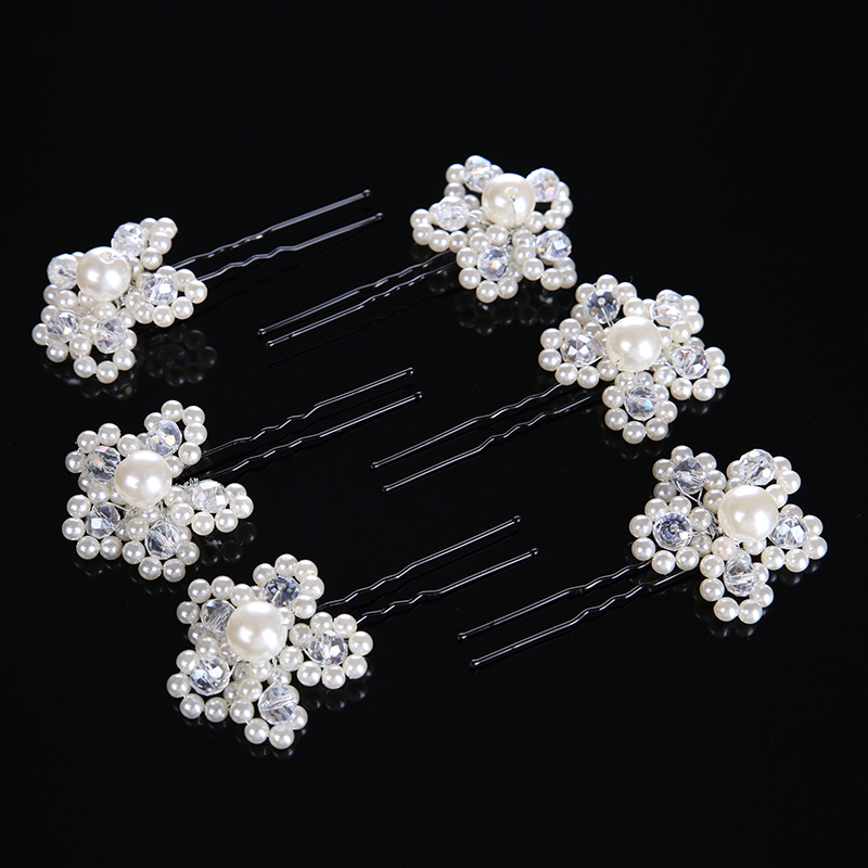 Ladies Simple Crystal/Alloy/Imitation Pearls Hairpins (Set of 6)