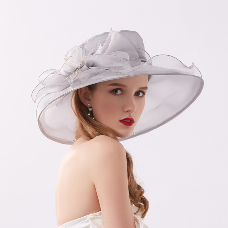 Ladies' Glamourous/Eye-catching Net Yarn With Imitation Pearls Beach/Sun Hats/Kentucky Derby Hats/Tea Party Hats
