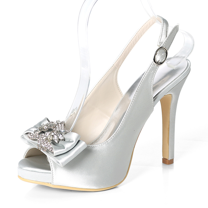 Women's Silk Like Satin Stiletto Heel Peep Toe Platform Pumps Sandals Slingbacks With Bowknot Buckle Rhinestone
